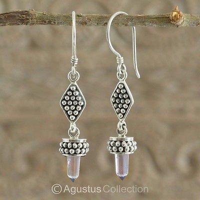 Hook EARRINGS Sterling SILVER & Genuine Amethyst Crystal 5.70 g ~ Handmade