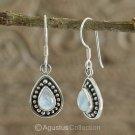 Hook EARRINGS Sterling Silver & Genuine Moonstone 3.00 g ~ Handmade