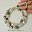 Rare  SOUTH SEA Baroque TAHITIAN KESHI PEARLS Multicolor 17.1 inch Strand 36.1 g