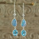 Hook EARRINGS Sterling SILVER, Triplet Opal & Swiss Blue Topaz 3.80 g ~ Handmade