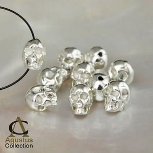 One Single Beautiful Solid 925 Sterling SILVER detailed Human Skull BEAD 5 mm