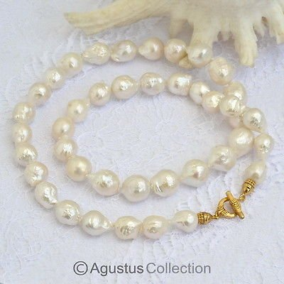 NECKLACE White KASUMI Freshwater PEARLS & Gold Vermeil 925 SILVER 26.5 inch