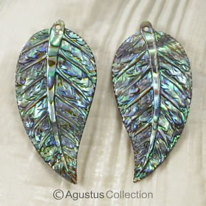 Multicolor PAUA ABALONE SHELL Iridescent Tropical Leaf Earring PAIR 3.00 g
