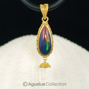 Solid 22K GOLD & Welo Opal Bali Granulation PENDANT BAIL & Pearl Cup 3.97 g