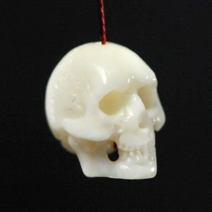 SKULL BEAD Fine White Bovine BONE Bali Carving 10 mm drill hole 1mm hand-carved
