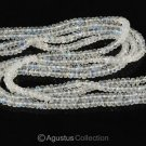"Blue Flash MOONSTONE 16.14"" Strand Faceted Rondelle Gemstone BEADS 45 ct"