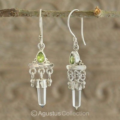 Hook EARRINGS Sterling SILVER Genuine Peridot & Rock Crystal 5.00 g ~ Handmade