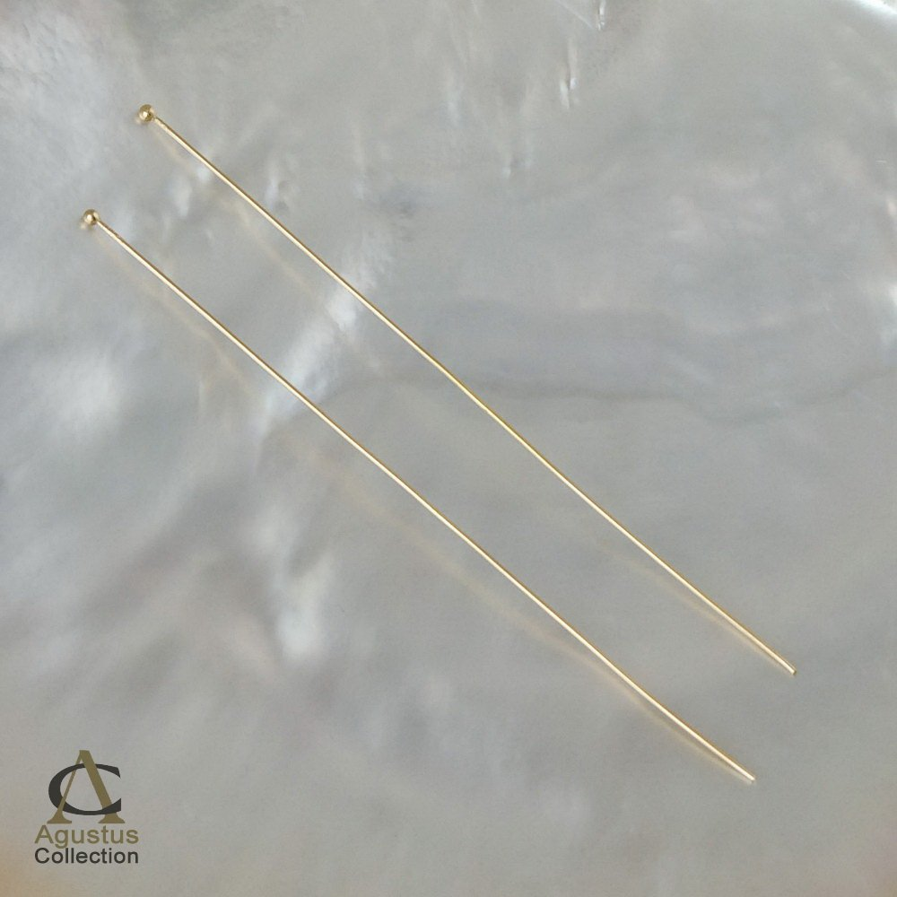 HEAD-PIN Findings Pair 925 SILVER 3.14inch Gold-Plated on Sterling Silver 0.47g