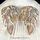 Iridescent Oyster SHELL CARVED Floral Design Earring Pair Handmade in Bali 5.68g