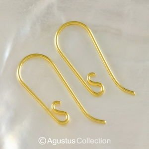 24K Gold Vermeil SILVER Wire Hook Earring Pair 3-Micron Gold-Plated 0.45 g