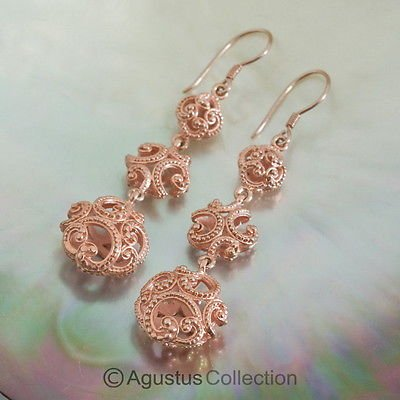 Hook EARRINGS Genuine 18K Rose Gold over Sterling SILVER 9.12 g ~ Handmade
