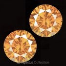 Pair 0.08 cts Round Natural Orange Diamonds 2.12 mm VS2 Clarity Brilliant Cut
