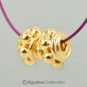 1 PAIR 24K Gold Vermeil 925 Sterling SILVER BEADS 0.55g Bali Granulation 5.1mm