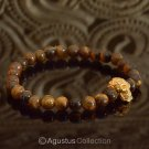 Stretch Bracelet Genuine 24K Gold Vermeil Skull Tiger-Eye 14.10 g ~ Size 6 ¼