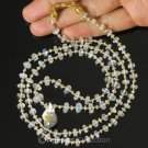 Necklace MOONSTONE BEADS, Akoya KESHI Pearls & 24K Gold Vermeil on 925 SILVER