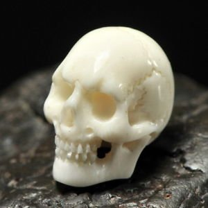 SKULL BEAD Fine White Bovine BONE Bali Carving 16 mm drill hole 1 mm hand-carved