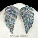 Multicolor PAUA ABALONE SHELL Iridescent Carved Fern Leaves Earring PAIR 2.83 g