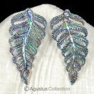 Multicolor PAUA ABALONE SHELL Iridescent Carved Fern Leaves Earring PAIR 2.80 g