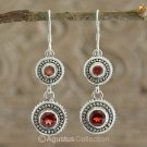 Hook EARRINGS Sterling SILVER & Genuine Red Garnet 8.15 g ~ Handmade in Bali