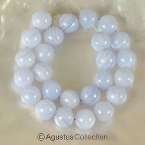 Blue Lace Agate 7.87 inch Strand Smooth 8 mm Round Gemstone Beads 89 ct