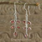Hook EARRINGS Sterling SILVER & Genuine Red Garnet 4.50 g ~ Handmade in Bali