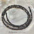 "Natural Drusy Nugget DIAMOND 16"" Bead Strand Grayish Black Gemstone 18.85 ct"
