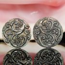 Iridescent Oyster SHELL CARVED Floral Design Earring Pair Handmade in Bali 9.13g