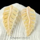Apricot CONCH SHELL Carving Earring Pair Fern Leaves Art Design Hand-carved
