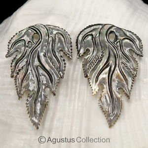 Iridescent Oyster SHELL CARVED Floral Design Earring Pair Handmade in Bali 7.79g