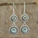 Hook EARRINGS Sterling SILVER & Genuine Blue Topaz 8.50 g ~ Handmade in Bali