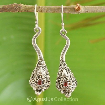 Dragon Hook Sterling SILVER EARRINGS & Genuine Garnet 8.80 g ~ Handmade in Bali