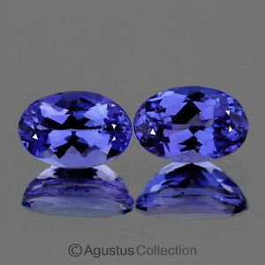 0.35cts Pair TANZANITE Violet Blue Oval Faceted Clean Natural Gemstones Tanzania