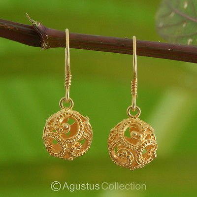 Hook EARRINGS Genuine 24K Gold Vermeil over Sterling SILVER 4.22 g ~ Handmade