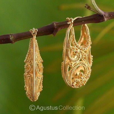 Creole EARRINGS Genuine 24K Gold Vermeil over Sterling SILVER 12.80 g ~ Handmade