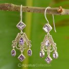 Hook EARRINGS Genuine Amethyst Sterling SILVER 5.60 g ~ Handmade