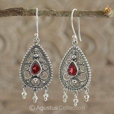 Hook EARRINGS Sterling SILVER & Genuine Red Garnet 4.90 g ~ Handmade in Bali