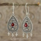 Hook EARRINGS Sterling SILVER & Genuine Red Garnet 4.90 g ~ Handmade in Bali