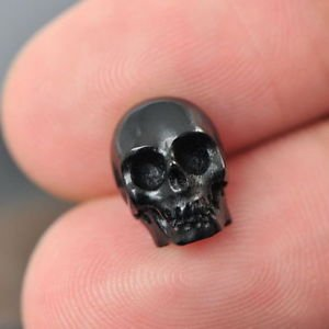 Human SKULL Carving Black Bovine HORN 10 mm un-drilled hand-carved in Bali