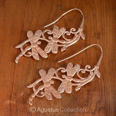 Dragonfly Hook EARRINGS Genuine 18K Rose Gold over Sterling SILVER 11.40 g
