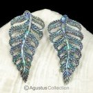 Multicolor PAUA ABALONE SHELL Iridescent Carved Fern Leaves Earring PAIR 3.19 g