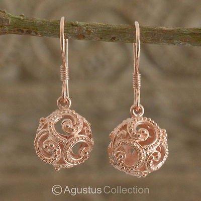 Hook EARRINGS Genuine 18K Rose Gold over Sterling SILVER 4.25 g ~ Handmade