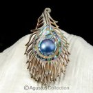 Multicolor PAUA ABALONE Shell Carving & Mabe Pearl PEACOCK Feather PENDANT 5.13g