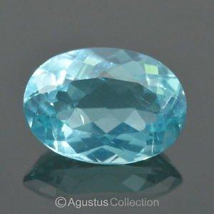 1.43 cts APATITE Paraiba Blue Oval Facet-Cut VVS Clean Natural Gemstone Brazil