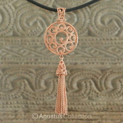 Pendant Genuine 18K Rose Gold over Sterling SILVER 10.85 g ~ Handmade in Bali