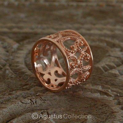 RING Genuine 18K Rose Gold over Sterling SILVER 4.90 g US size 6.5 ~ Handmade
