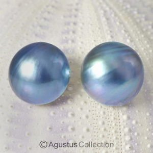 Pair MABE PEARLS 15 mm Lustrous BLUE Cultured Sumbawa Indonesia 3.07 g