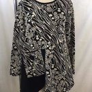 MOONLIGHT Y & S FASHION DESIGN BLACK/ BEIGE ASYMMETRICAL TOP SIZE M