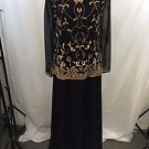DIANE FREIS VINTAGE BLACK GOLD BEADED DETAIL SHEER L/S GOWN SIZE M