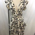 MK2K CREAM BLACK SWIRL WOOL V-NECK SWEATER DRESS SIZE S