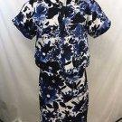 ST JOHN BLUE/ WHITE FLORAL SLEEVELESS DRESS W/ CROP S/S JACKET SIZE 4
